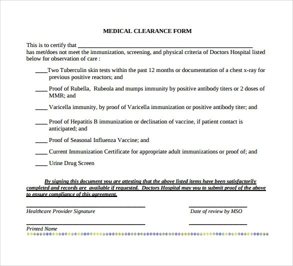 Sample Medical Clearance Form  8 Download Free Documents In PDF Word