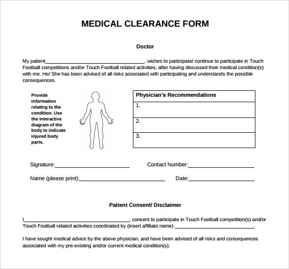 Medical Clearance Form 9 Download Free Documents In PDF