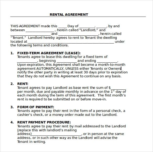 rental lease agreement word template