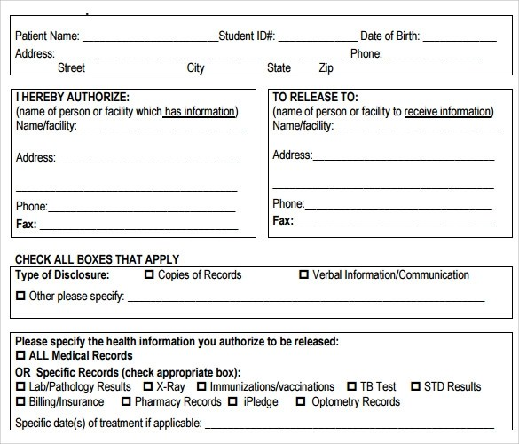 Medical Basic Records Form Release