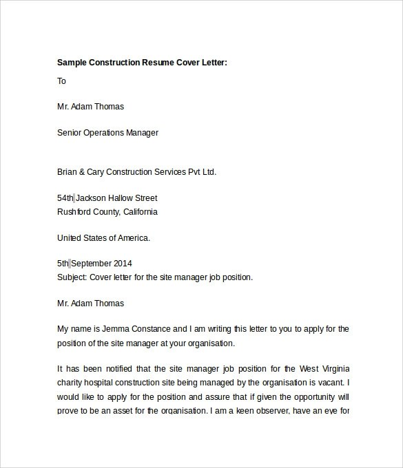 Sample Resume Cover Letter Template  7 Free Documents In
