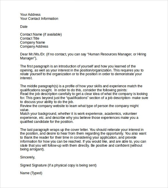 9 Sample Professional Cover Letter Templates to Download  Sample Templates