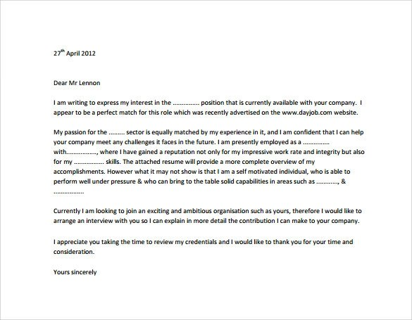 9 Sample Professional Cover Letter Templates To Download
