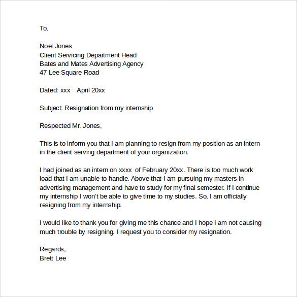 Writing Internship Resignation Letter Resignation Letter Format