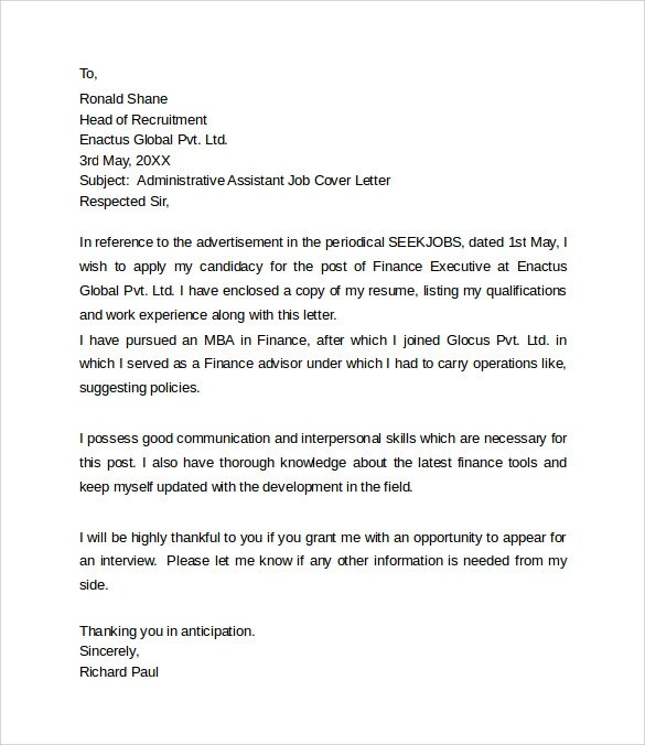 Sample Administrative Assistant Cover Letter Template 8