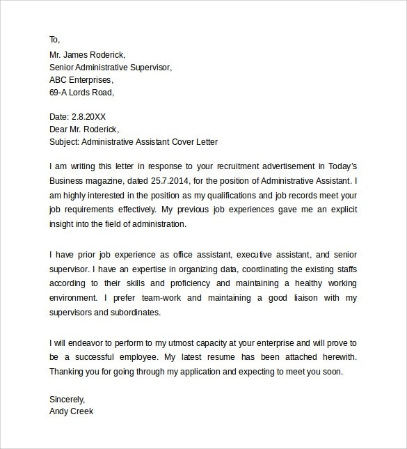 Sample Administrative Assistant Cover Letter Template 8 Free Documents In PDF Word