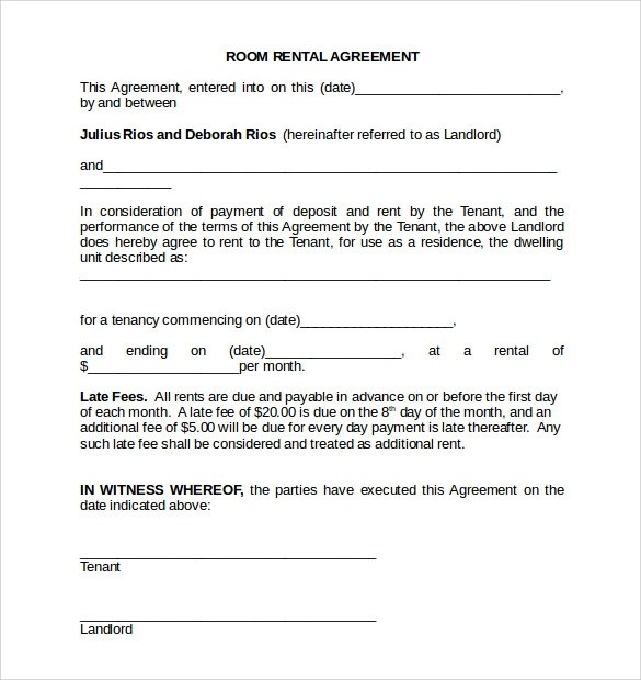 18 Room Rental Agreements to Download for Free  Sample