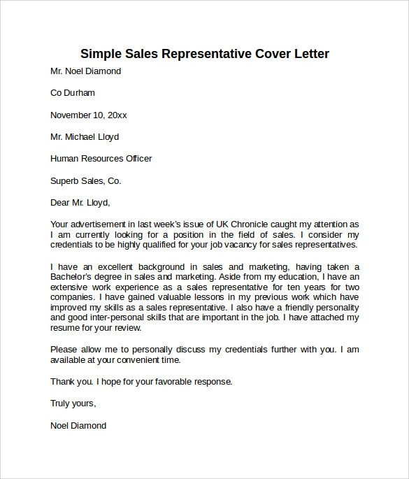sales representative cover letter example