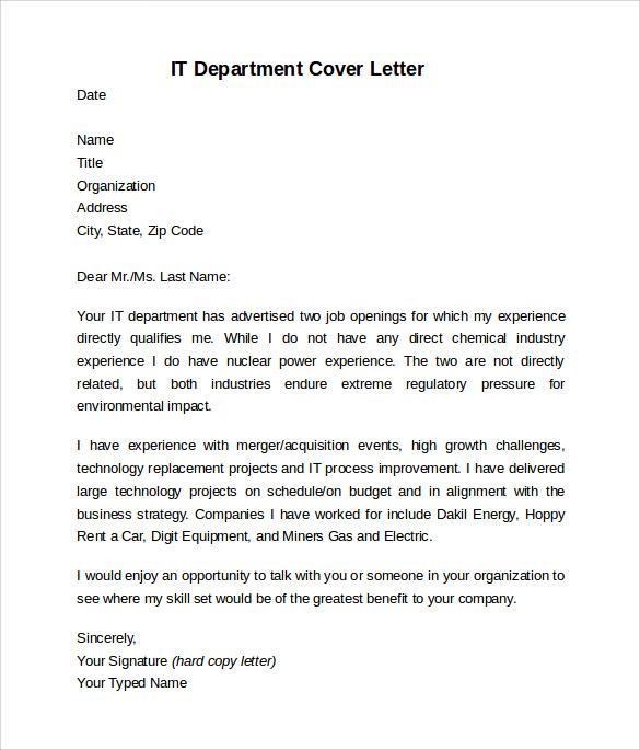 information technology cover letter sample docoments ojazlink