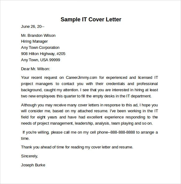 Cover Letter Formats Of Resumes