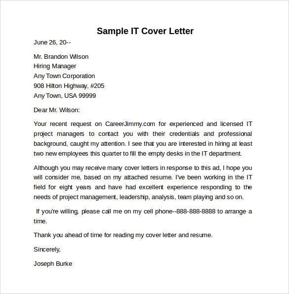 it job cover letter examples