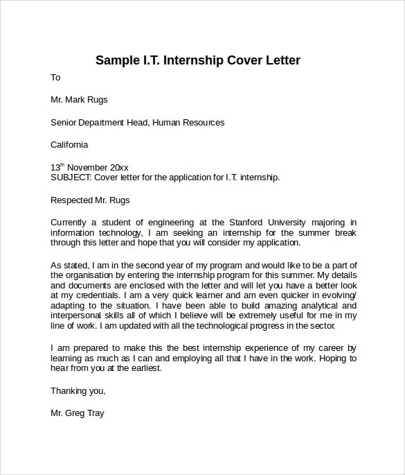 Sample Information Technology Cover Letter Template  8 Download Free Documents In PDF Word