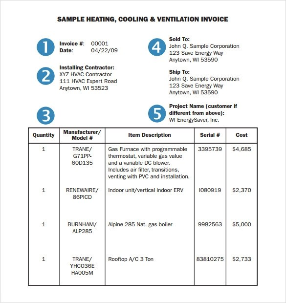 14 HVAC Invoice Templates To Download For Free Sample