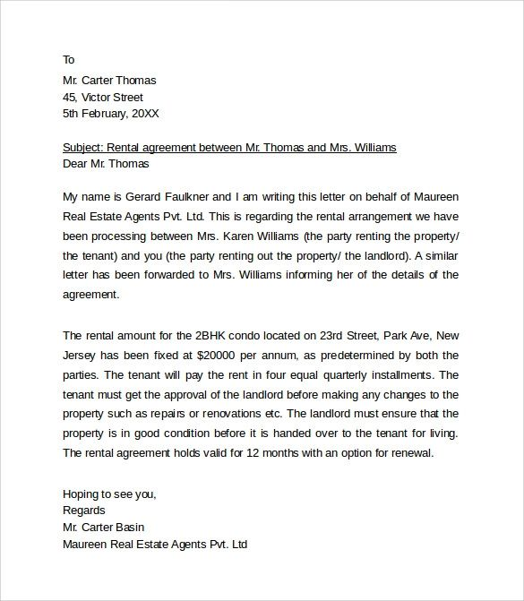 letter to landlord template
