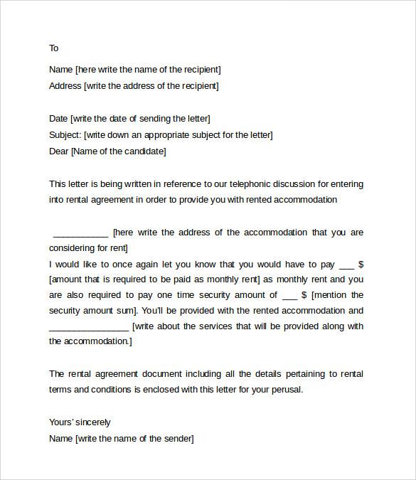 8+ Sample Rental Agreement Letter Templates | Sample Templates
