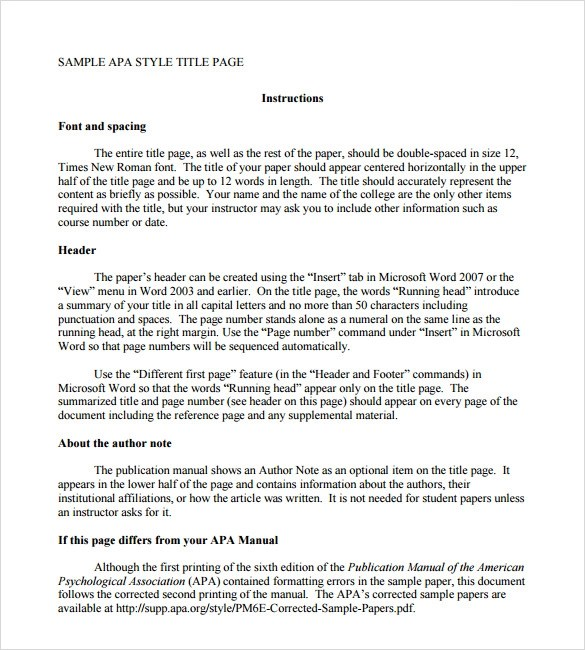 FREE 6+ Sample APA Format Title Page Templates in PDF   MS Word
