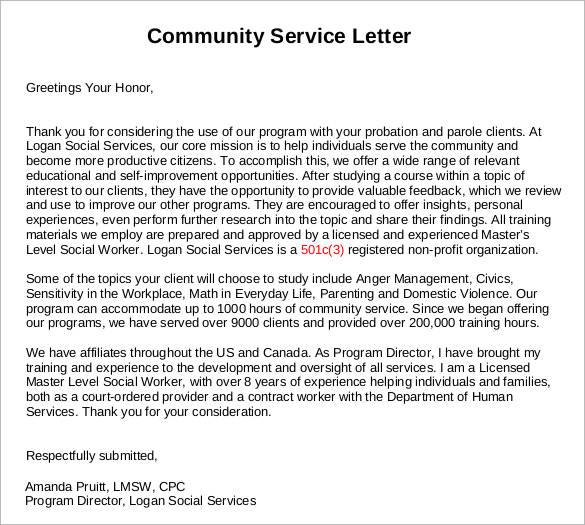 Sample Community Service Letter  25 Download Free