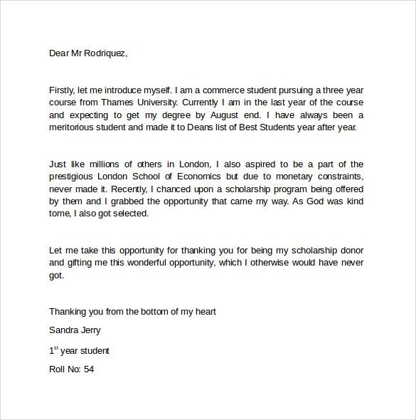 grant thank you letter template – Thank You Letter for Scholarships