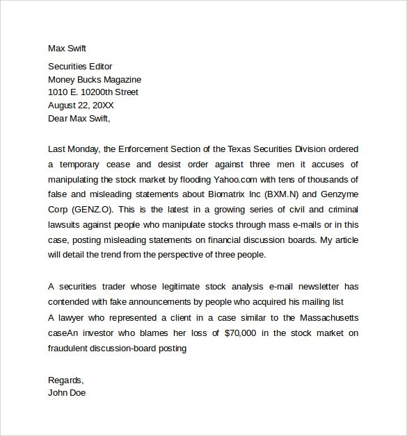 7 Sample Query Letter Templates To Download Sample Templates