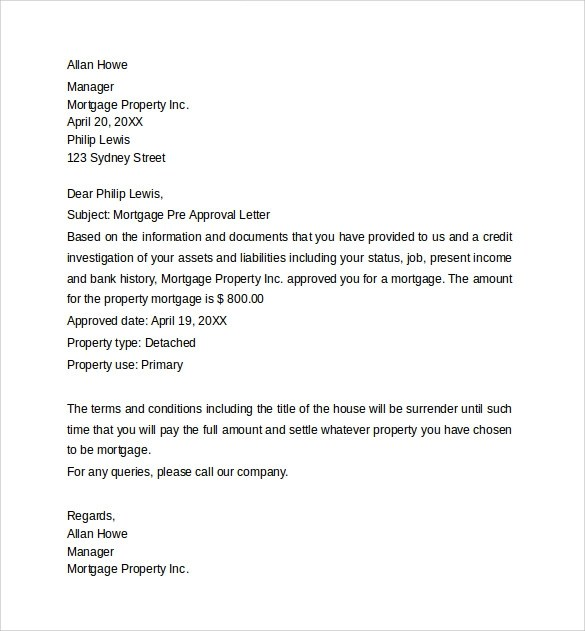 9 Sample PreApproval Letters to Download  Sample Templates