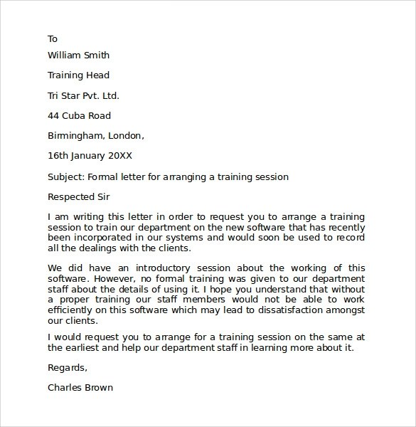 Sample Formal Letter Format 10 Download Free Documents