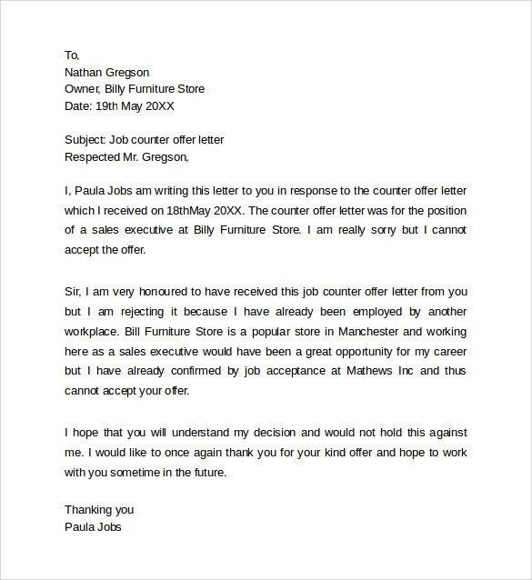Counter Offer Letter 7 Download Free Documents In Word