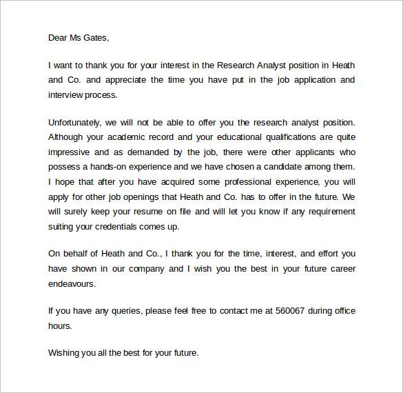 Sample Rejection Letter After Interview 9 Download Free