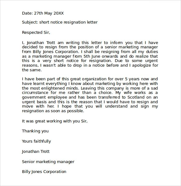 Sample Resignation Letter Format With Notice Period Image Gallery