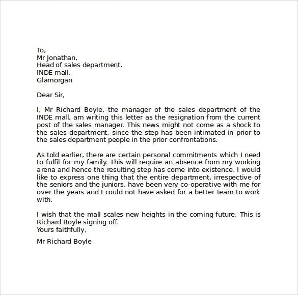 Sample Resignation Letter Format  9 Download Free Documents in PDF  Word