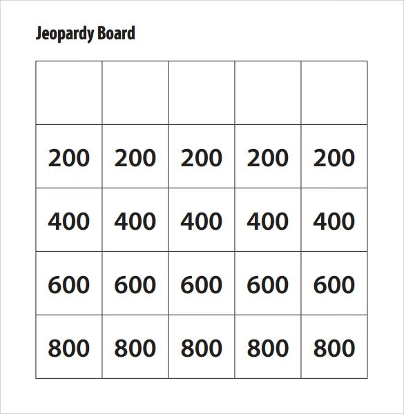 Sample Jeopardy Game Template  6 Download Documents in PDF  PPT