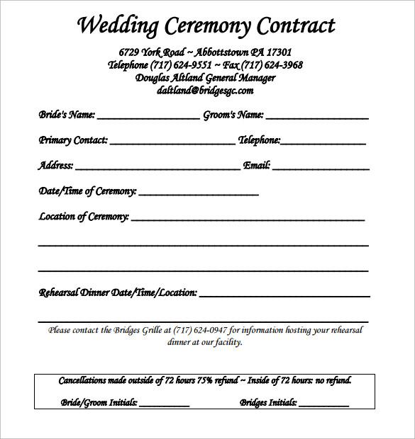 wedding contract sample