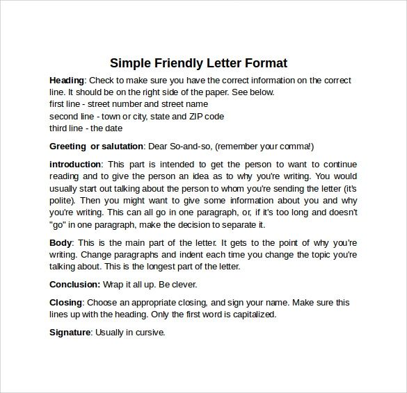 friendly letter examples