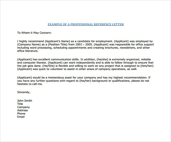 Sample Reference Letter Format 7 Download Free
