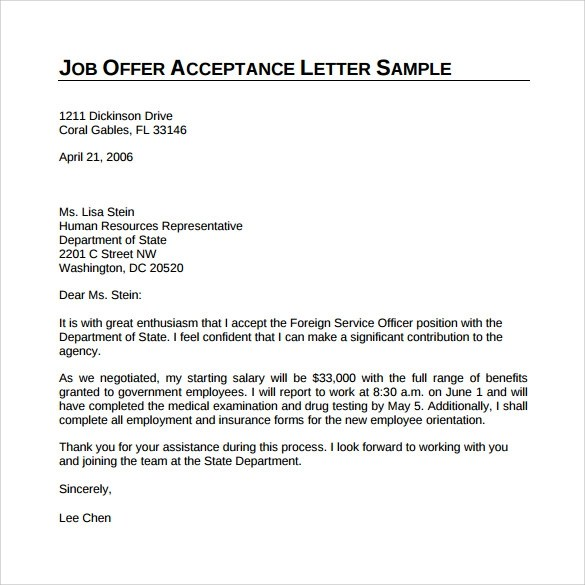 Sample Job Offer Acceptance Letter Pdf | Mytemplate.Co