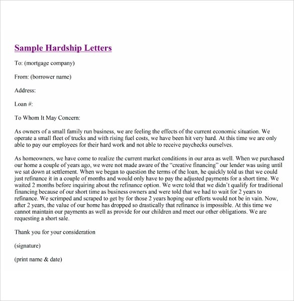 Financial Hardship Letters 7Download Free Documents In