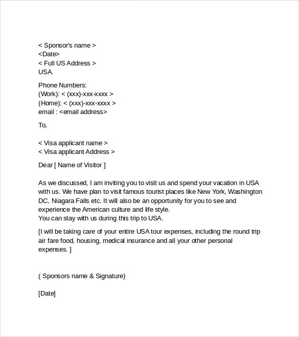 sample visa invitation letter templates