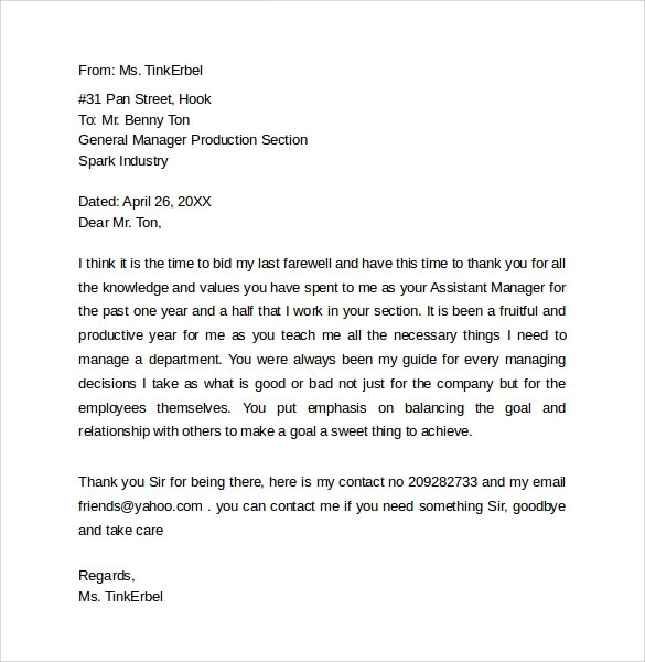 FREE 14+ Sample Farewell Letters to Co-Workers in PDF | MS Word | Pages | Google Docs