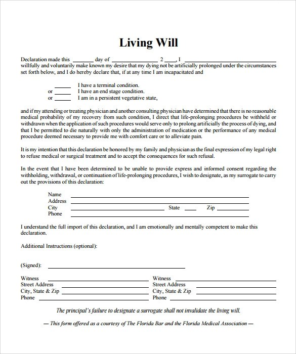 Living Will Template Mobawallpaper