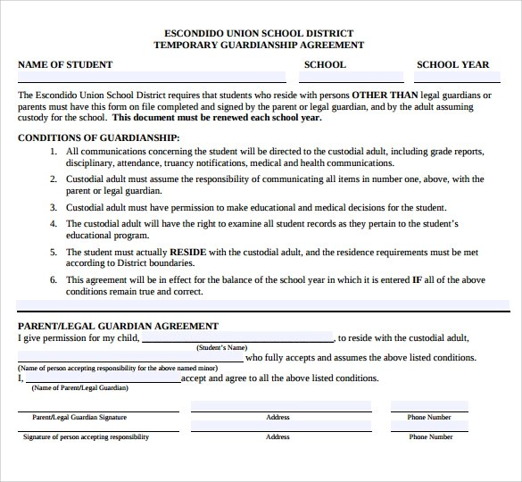 Temporary Legal Guardian Agreement Sample