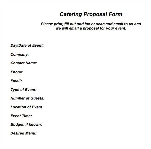 6 Catering Proposal Samples Sample Templates