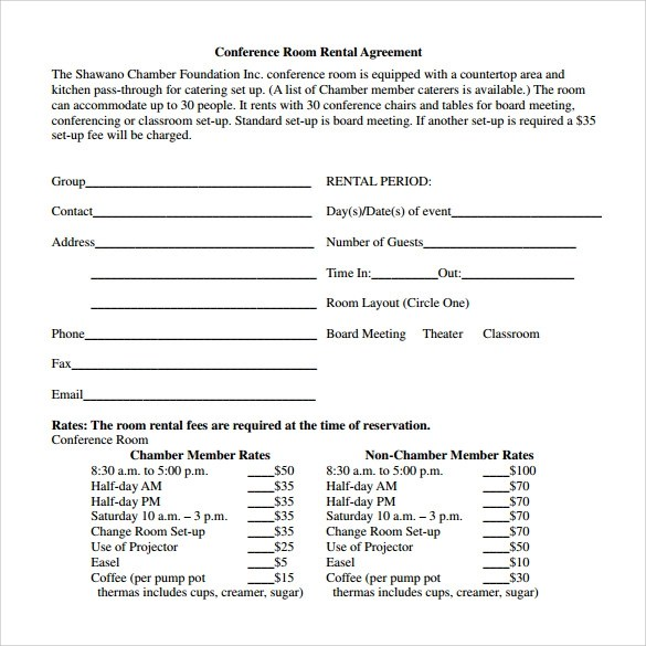 Sample Room Rental Agreement  8 Free Samples Examples  Formats