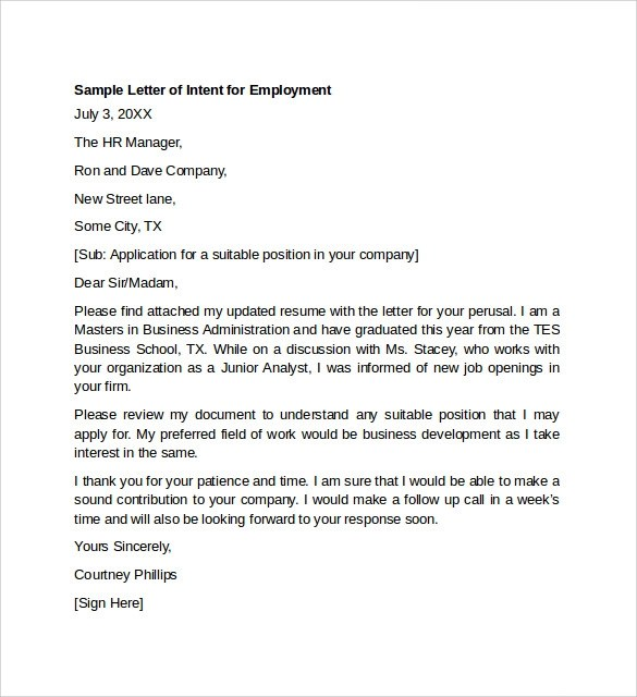 7 Letter Of Intent For Employment Templates To Download