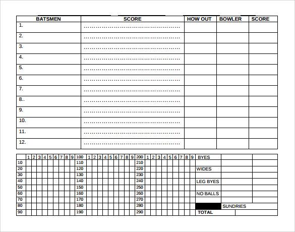 Cricket Scoring Sheet Pdf