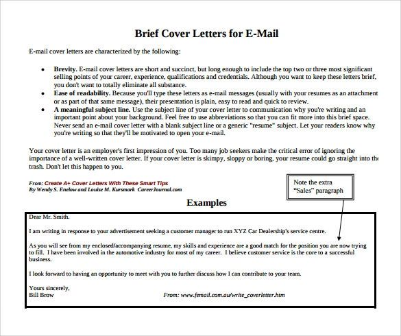 employment cover letters examples for free
