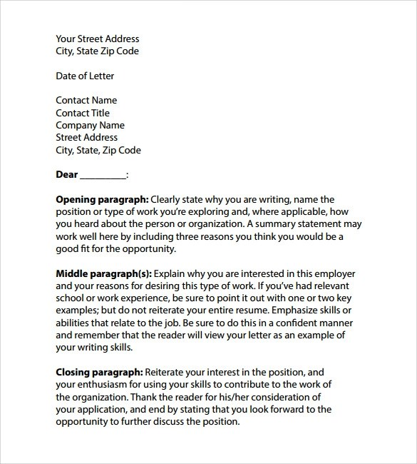 8 Professional Cover Letter Templates  Samples  Examples  Formats  Sample Templates