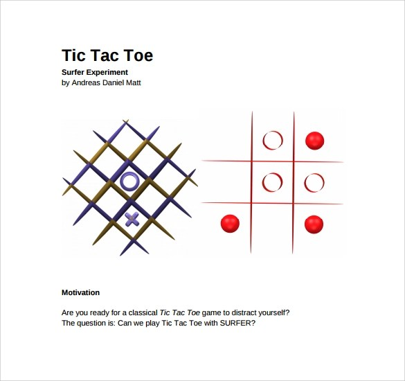 Sample Tic Tac Toe Template 9 Free Documents In PDF Doc