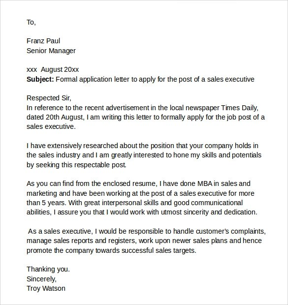 10 Application Cover Letters  Samples  Examples   Format  Sample Templates