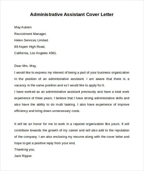10 Administrative Assistant Cover Letters Samples Examples Formats Sample Templates