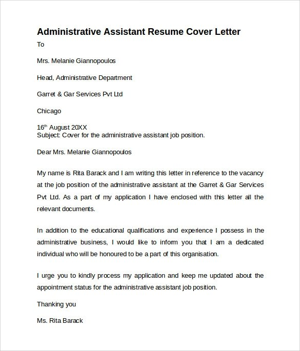 10 Administrative Assistant Cover Letters – Samples