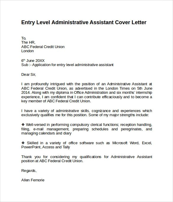 Administrative Assistant Cover Letter 9 Free Samples